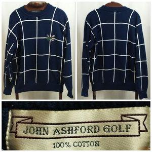 John Ashford Golf sweater Sz M Pullover Blue White